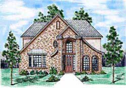 French-Country Style Home Design Plan: 3-166
