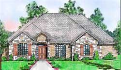 European Style Home Design Plan: 3-188