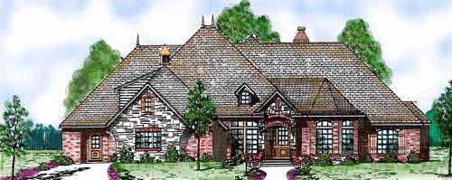 European Style House Plans Plan: 3-214