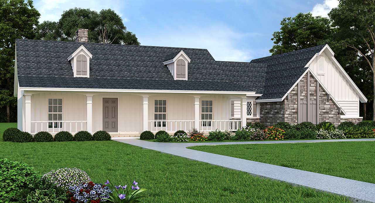 Country Style Home Design Plan: 30-176
