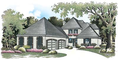 European Style Home Design Plan: 30-284