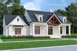 Modern-Farmhouse Style Home Design Plan: 30-443