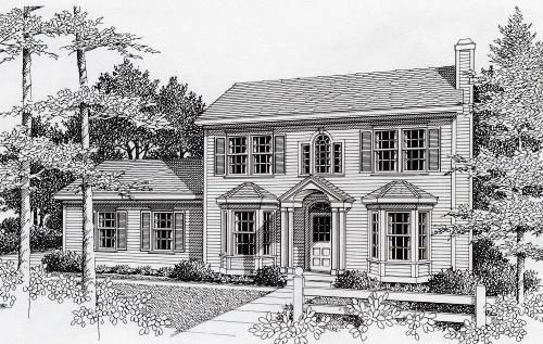 Colonial Style Home Design Plan: 31-111