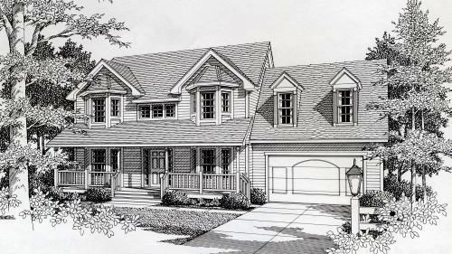 Country Style Home Design Plan: 31-122
