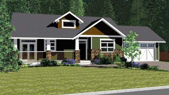 Craftsman Style Home Design Plan: 32-108