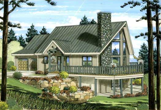 Mountain-or-rustic Style Home Design Plan: 32-117