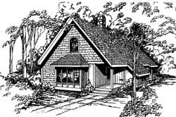Shingle Style Home Design Plan: 33-117
