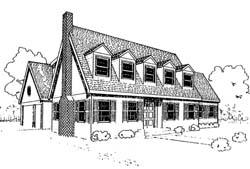 Cape-Cod Style Home Design Plan: 33-128