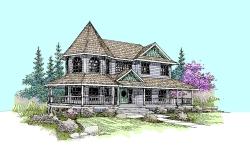Victorian Style Home Design Plan: 33-403