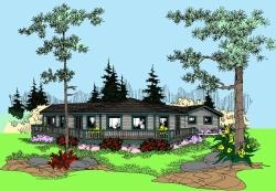 Contemporary Style Home Design 33-458