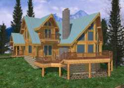 Log-Cabin Style Home Design Plan: 34-102