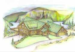 Log-Cabin Style Home Design Plan: 34-104