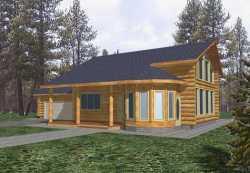 Log-Cabin Style Home Design Plan: 34-109