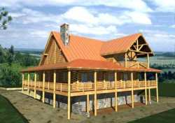 Log-Cabin Style Home Design Plan: 34-111