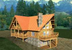 Log-Cabin Style Home Design Plan: 34-112