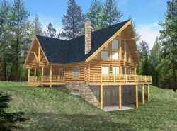 Log-Cabin Style Home Design Plan: 34-113