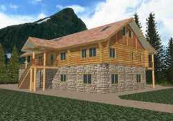 Log-Cabin Style Home Design Plan: 34-118