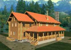 Log-Cabin Style Home Design Plan: 34-119