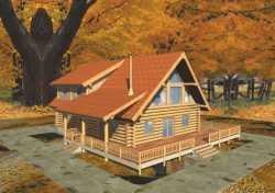 Log-Cabin Style Home Design Plan: 34-121