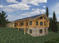 Log-Cabin Style Home Design Plan: 34-122