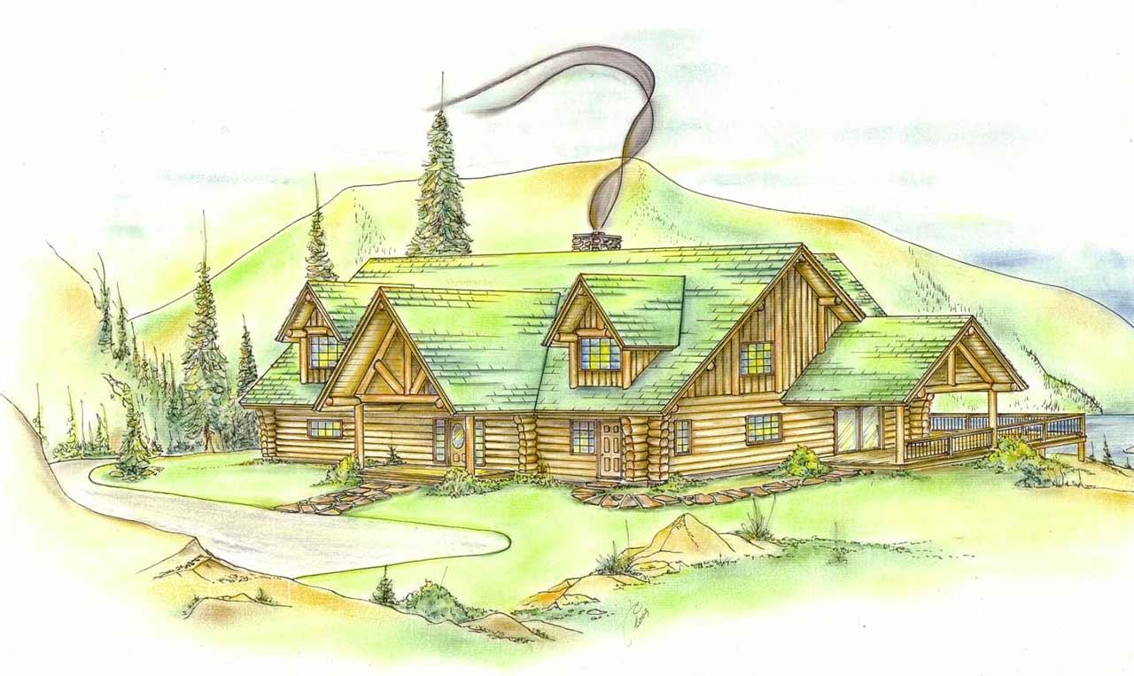 Log-cabin Style Home Design Plan: 34-123