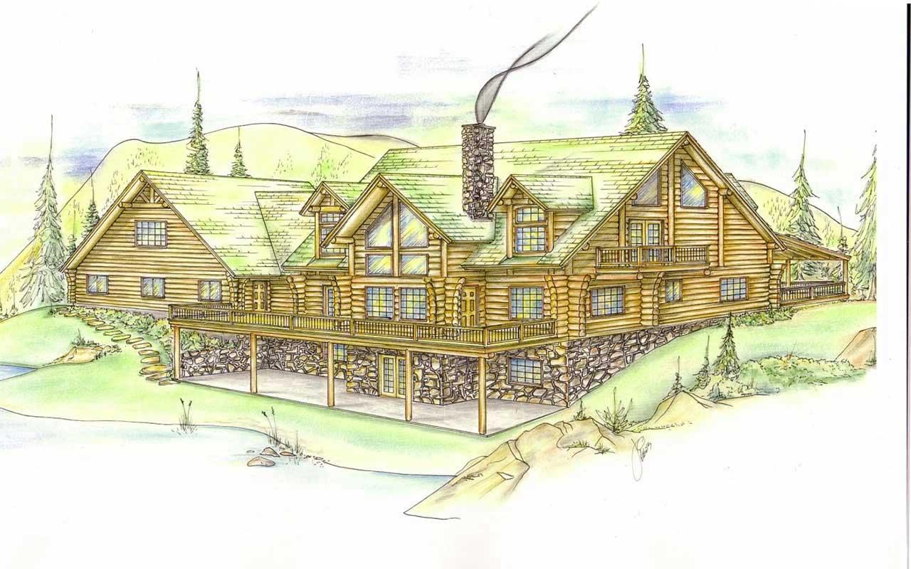 Log-cabin Style Floor Plans Plan: 34-124