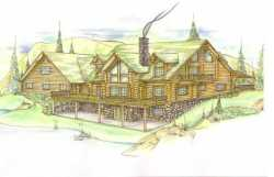 Log-Cabin Style Home Design Plan: 34-124