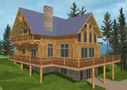 Log-Cabin Style Home Design Plan: 34-126