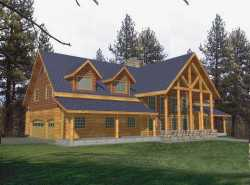 Log-Cabin Style Home Design 34-129