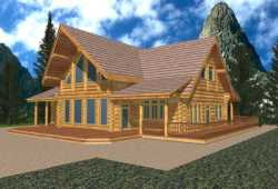 Log-Cabin Style Floor Plans Plan: 34-136