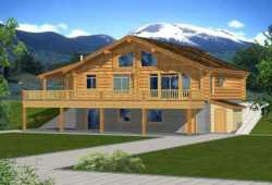 Log-Cabin Style Home Design Plan: 34-139