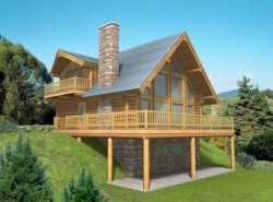 Log-Cabin Style Home Design Plan: 34-140