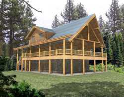 Log-Cabin Style Home Design Plan: 34-143