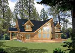 Log-Cabin Style Home Design Plan: 34-144