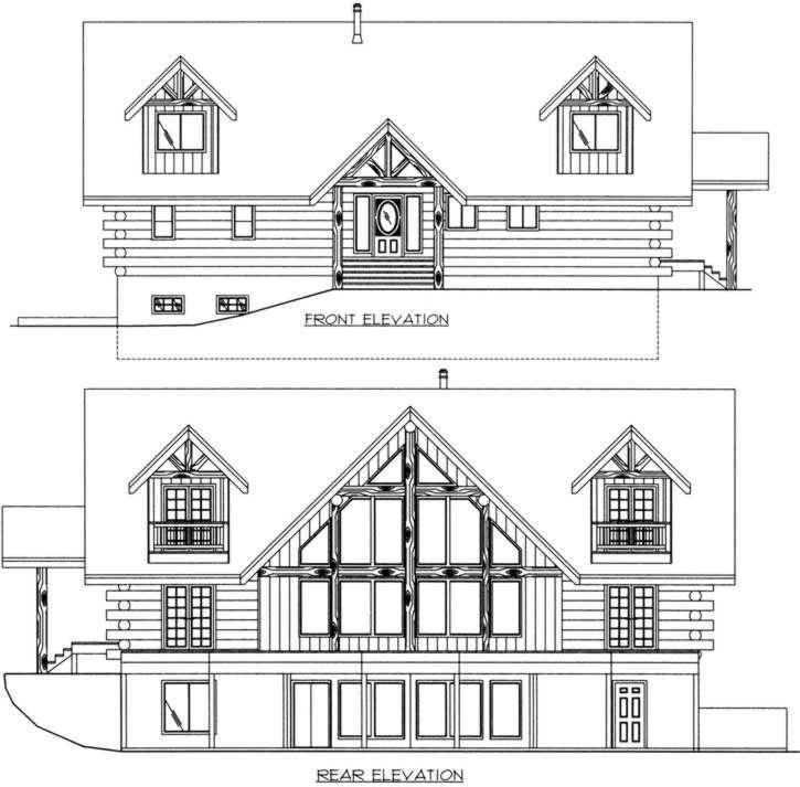 Rear Elevation Plan: 34-145