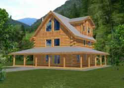 Log-Cabin Style Home Design Plan: 34-147