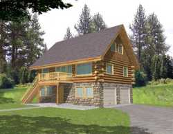Log-Cabin Style Home Design Plan: 34-148