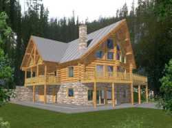 Log-Cabin Style Floor Plans Plan: 34-149