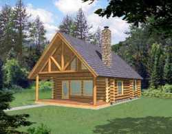 Log-Cabin Style Home Design Plan: 34-150