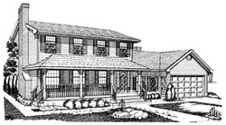 Country Style Home Design Plan: 35-226