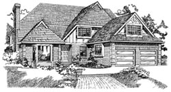 English-Country Style House Plans Plan: 35-251