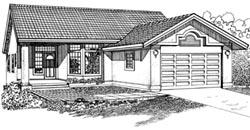 Southwest Style Home Design Plan: 35-298
