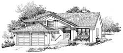 Southwest Style Home Design Plan: 35-313
