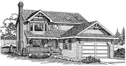 Country Style Home Design Plan: 35-356