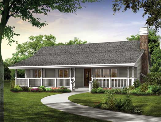 Ranch House Plan - 3 Bedrooms, 2 Bath, 1344 Sq Ft Plan 35-457 on