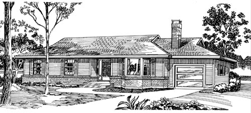 Ranch Style Home Design Plan: 35-469