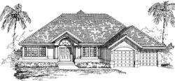 Sunbelt Style Home Design Plan: 35-562