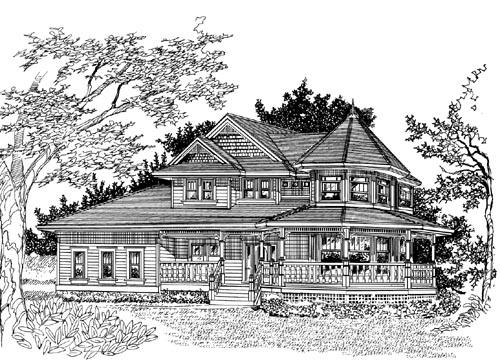 Victorian Style Home Design Plan: 35-583