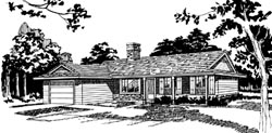 Ranch Style Home Design Plan: 35-594