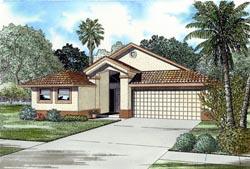 Florida Style Home Design Plan: 37-120